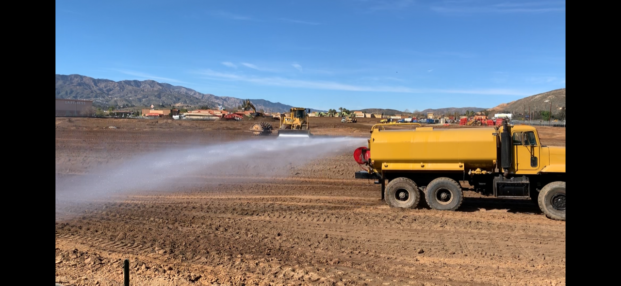 Water truck at new Walmart site